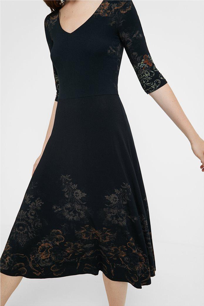 "Desigual γυναικείο midi φόρεμα με floral print ""Vero"" Μαύρο 4"