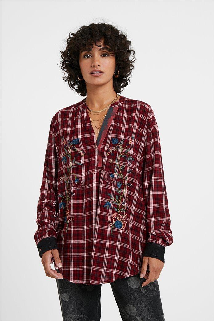 Desigual γυναικεία καρό μπλούζα με floral κεντήματα ''Quarq'' Μπορντό 0