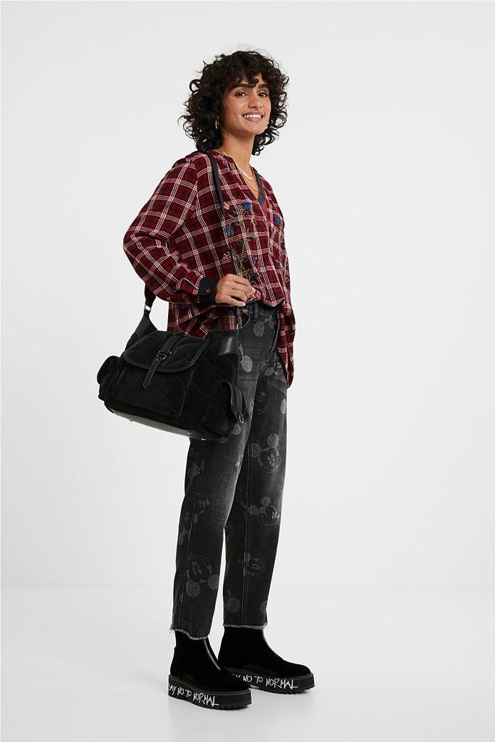 Desigual γυναικεία καρό μπλούζα με floral κεντήματα ''Quarq'' Μπορντό 2