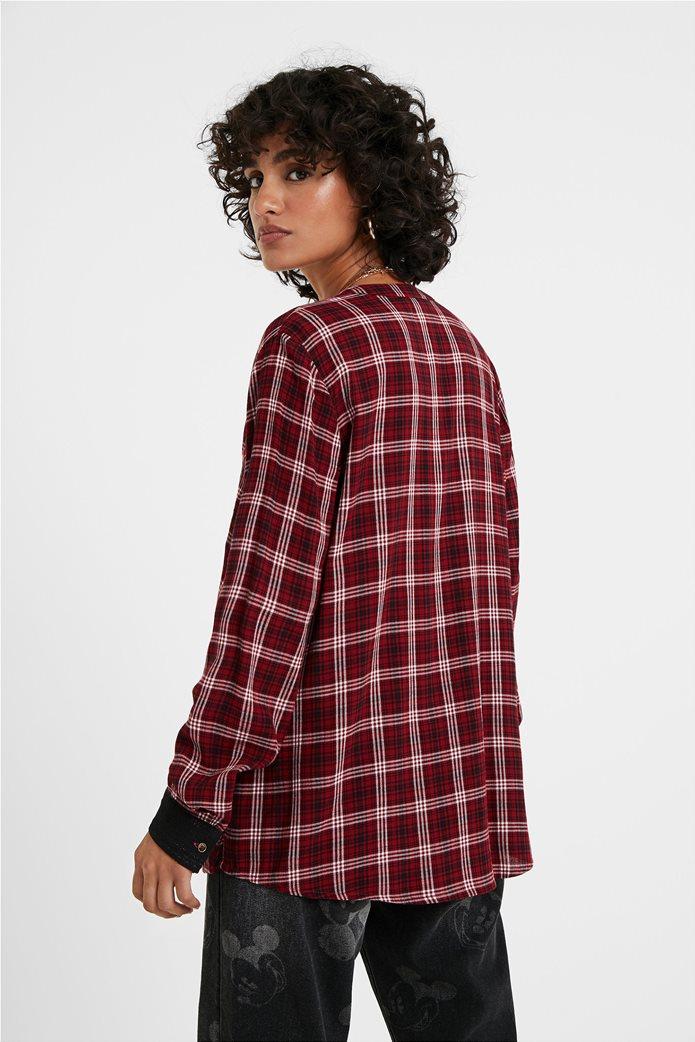 Desigual γυναικεία καρό μπλούζα με floral κεντήματα ''Quarq'' Μπορντό 3