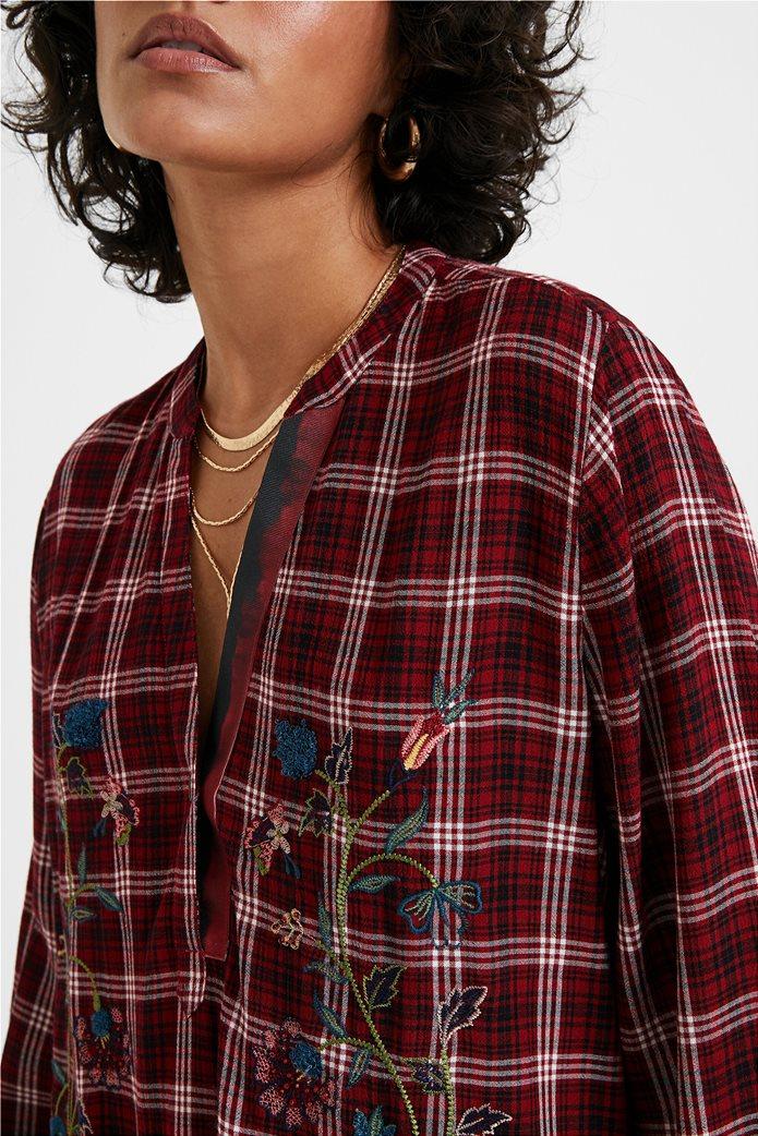 Desigual γυναικεία καρό μπλούζα με floral κεντήματα ''Quarq'' Μπορντό 4