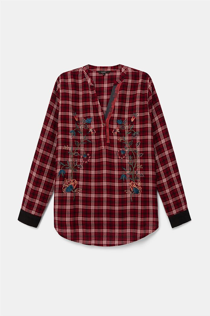 Desigual γυναικεία καρό μπλούζα με floral κεντήματα ''Quarq'' Μπορντό 5
