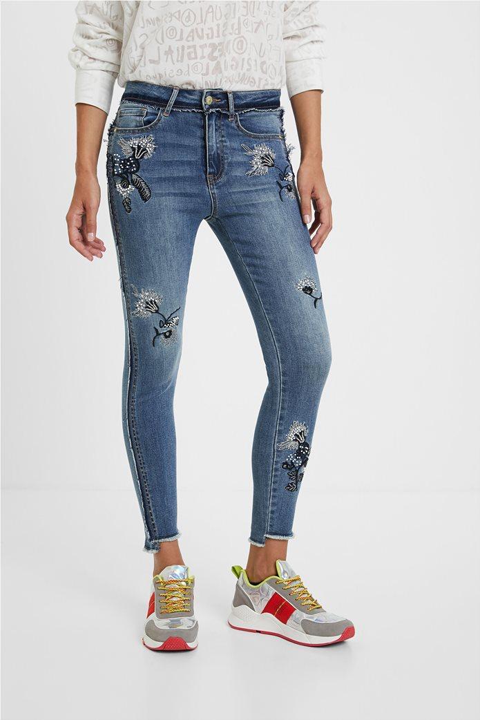 Desigual γυναικείο τζην παντελόνι με κεντήματα ''Miami'' Μπλε 2