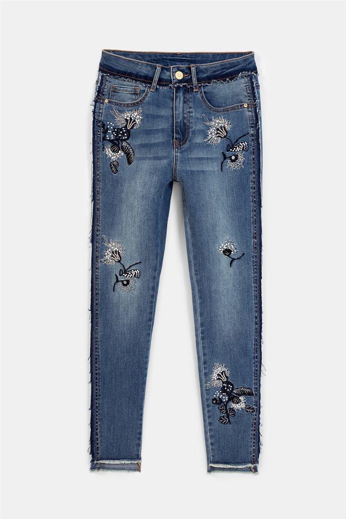 Desigual γυναικείο τζην παντελόνι με κεντήματα ''Miami'' Μπλε 4