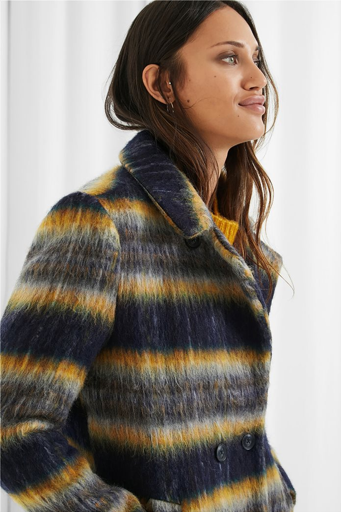 Desigual γυναικείο μάλλινο παλτό ριγέ ''Einar'' Μπλε Σκούρο 1