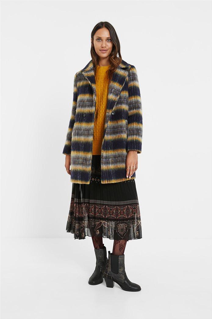 Desigual γυναικείο μάλλινο παλτό ριγέ ''Einar'' Μπλε Σκούρο 2