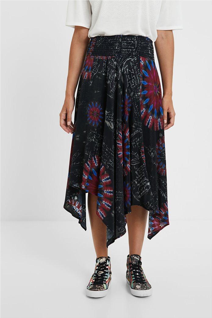 Desigual γυναικεία midi φούστα ασύμμετρη ''Brindisi'' Πολύχρωμο 2