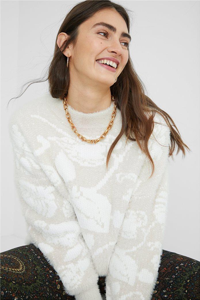 Desigual γυναικείο floral πουλόβερ ''Zurich'' Εκρού 1