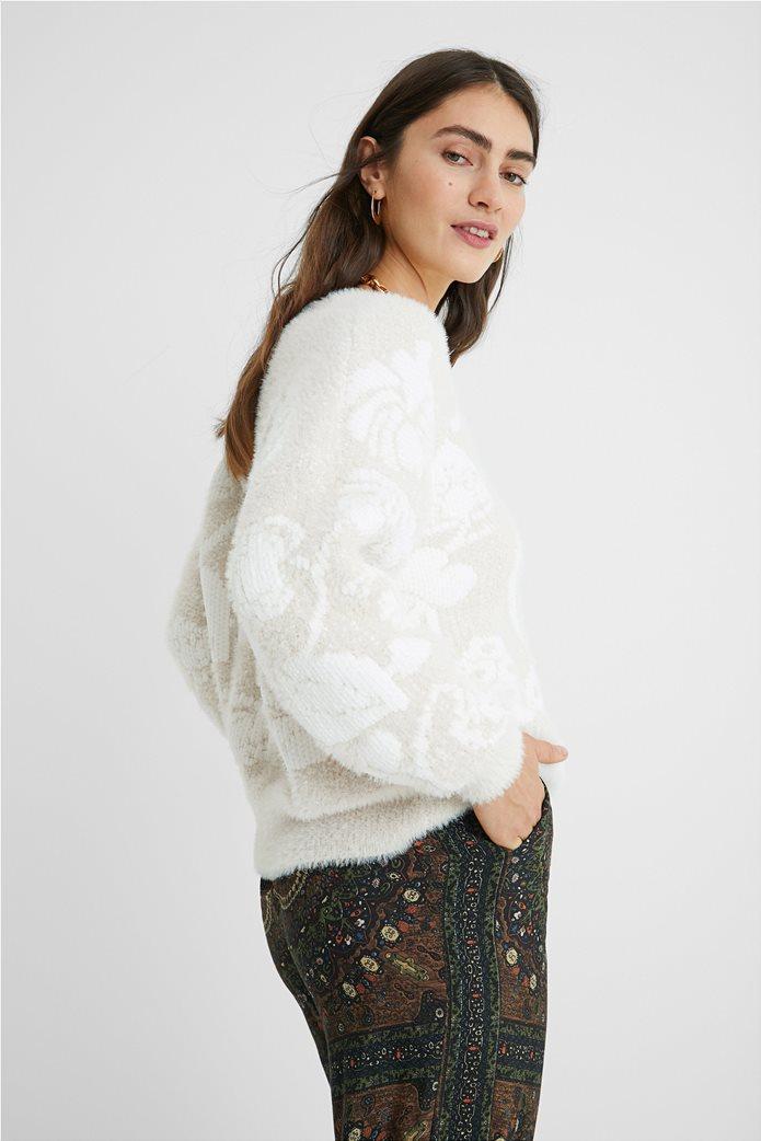 Desigual γυναικείο floral πουλόβερ ''Zurich'' Εκρού 2