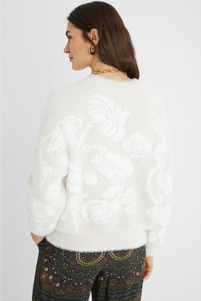 Desigual γυναικείο floral πουλόβερ ''Zurich'' Εκρού 3