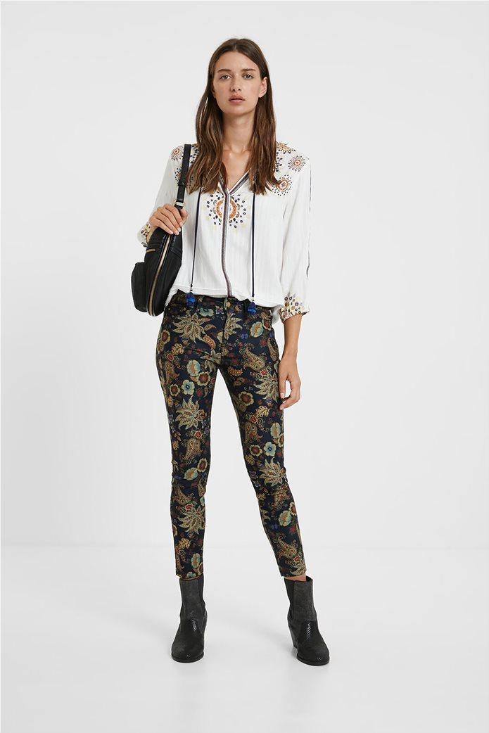 Desigual γυναικείο πεντάτσεπο παντελόνι με floral print ''Candela'' Μπλε Σκούρο 0