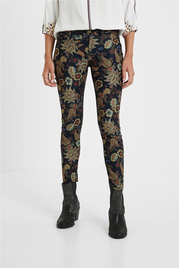 Desigual γυναικείο πεντάτσεπο παντελόνι με floral print ''Candela'' Μπλε Σκούρο 1