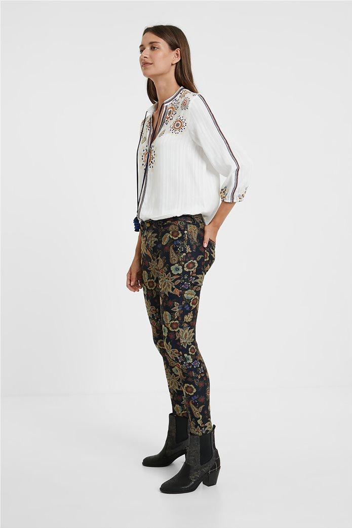 Desigual γυναικείο πεντάτσεπο παντελόνι με floral print ''Candela'' Μπλε Σκούρο 2