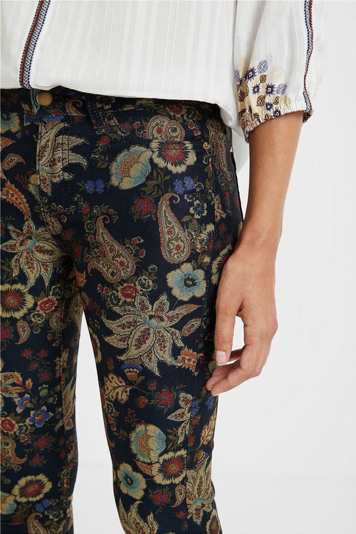 Desigual γυναικείο πεντάτσεπο παντελόνι με floral print ''Candela'' Μπλε Σκούρο 4