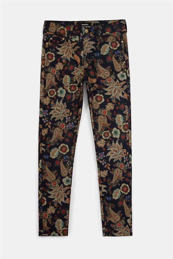 Desigual γυναικείο πεντάτσεπο παντελόνι με floral print ''Candela'' Μπλε Σκούρο 5