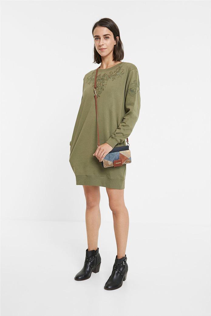 Desigual γυναικείο mini φόρεμα με κεντημένο σχέδιο ''Bukit'' Λαδί 0