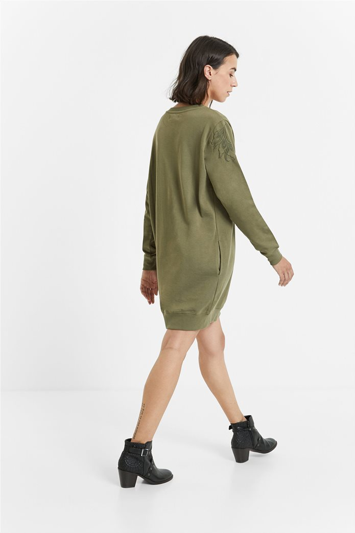 Desigual γυναικείο mini φόρεμα με κεντημένο σχέδιο ''Bukit'' Λαδί 1