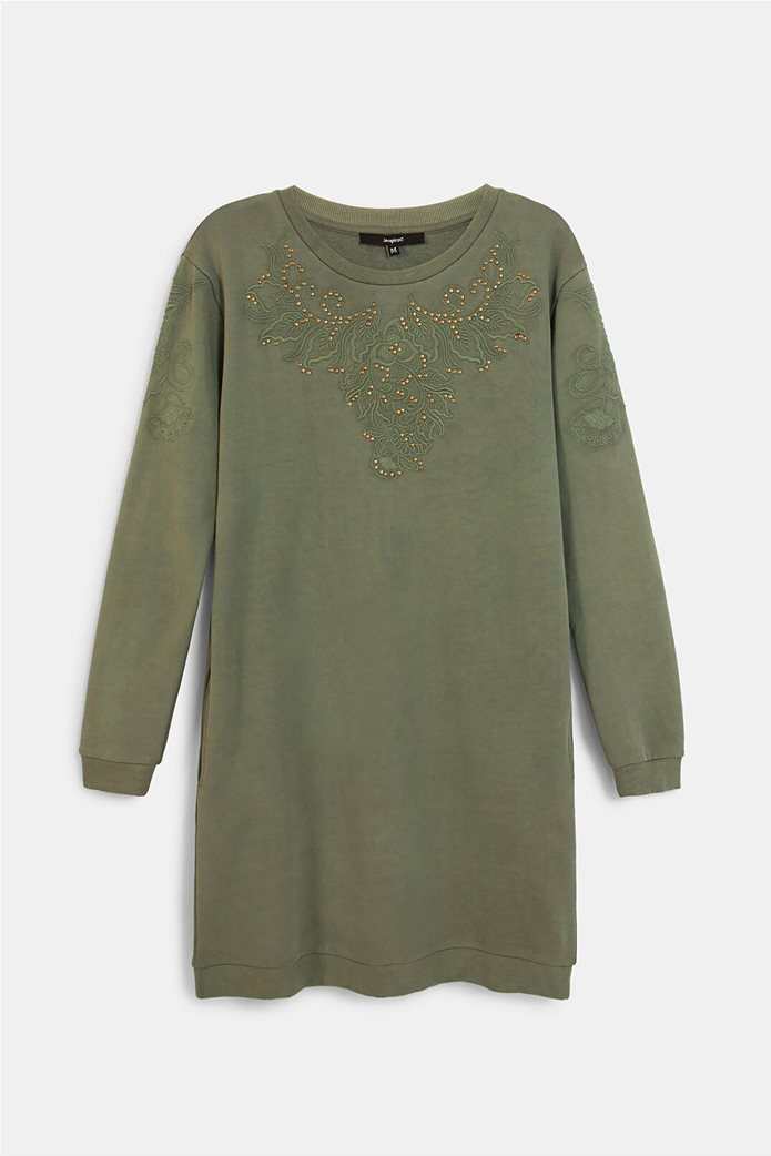 Desigual γυναικείο mini φόρεμα με κεντημένο σχέδιο ''Bukit'' Λαδί 5