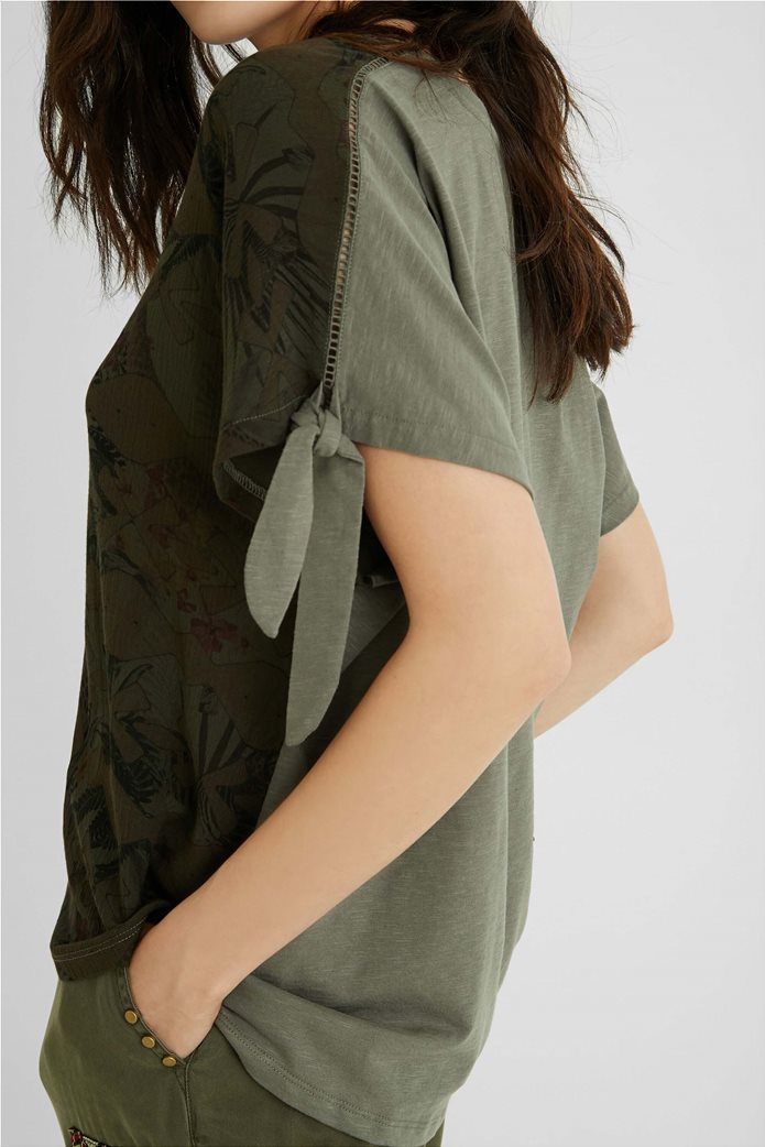 "Desigual γυναικεία μπλούζα με tropical print ""Staten"" Χακί 1"