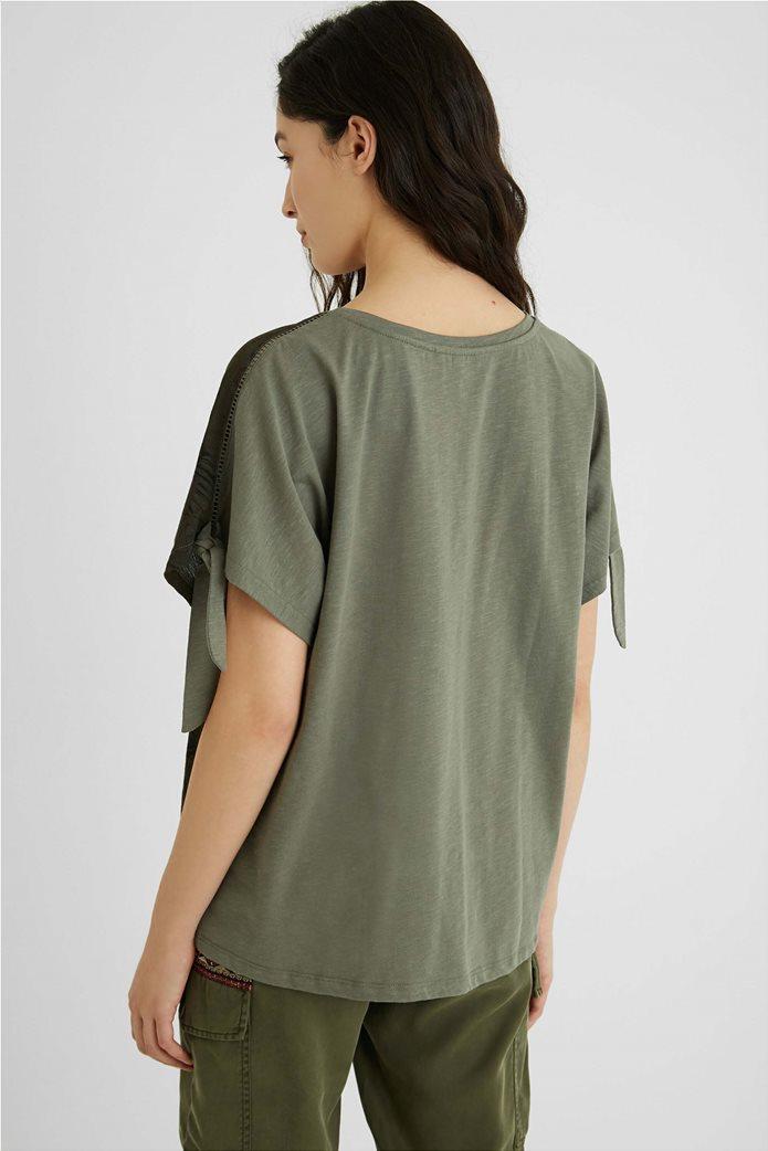 "Desigual γυναικεία μπλούζα με tropical print ""Staten"" Χακί 2"