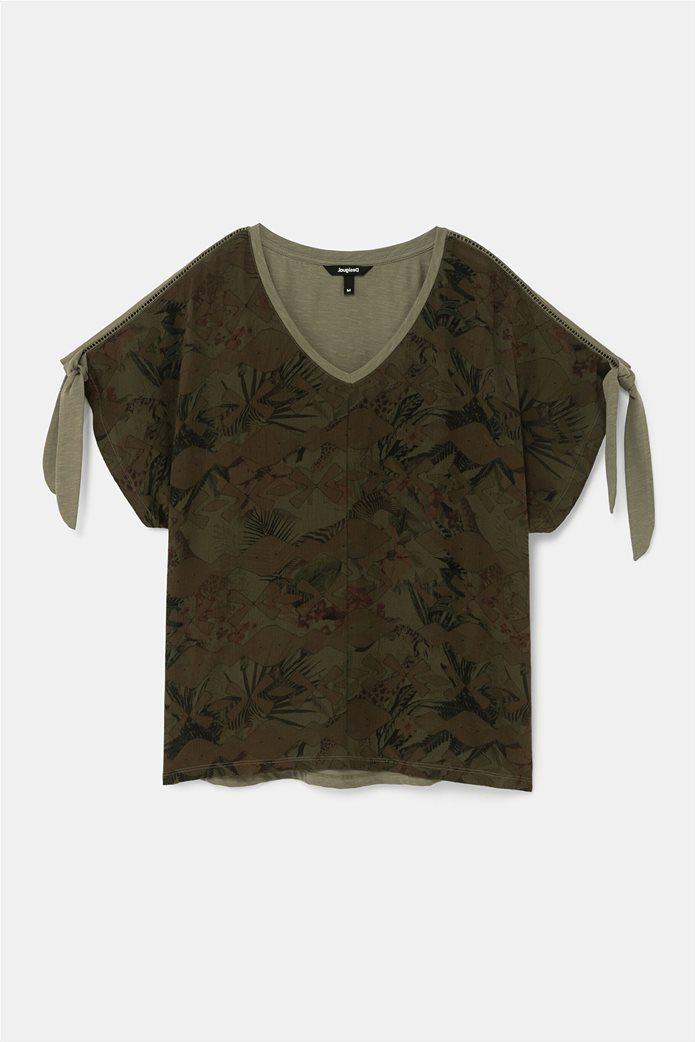 "Desigual γυναικεία μπλούζα με tropical print ""Staten"" Χακί 4"