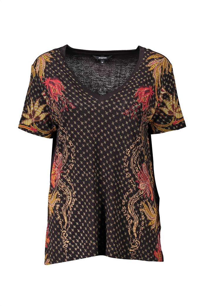 Desigual γυναικεία μπλούζα με V λαιμόκοψη και print ''Praga'' Μαύρο 0