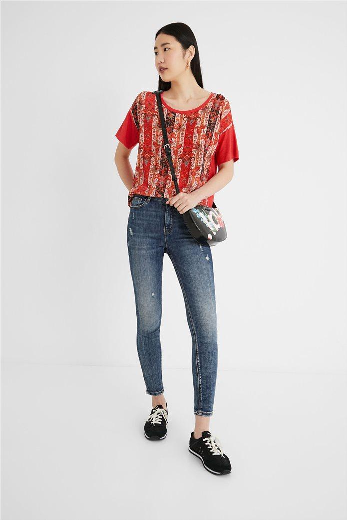 "Desigual γυναικεία μπλούζα με boho print ""Lombok"" Κόκκινο 0"