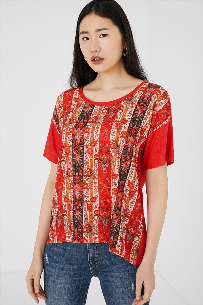 "Desigual γυναικεία μπλούζα με boho print ""Lombok"" Κόκκινο 1"