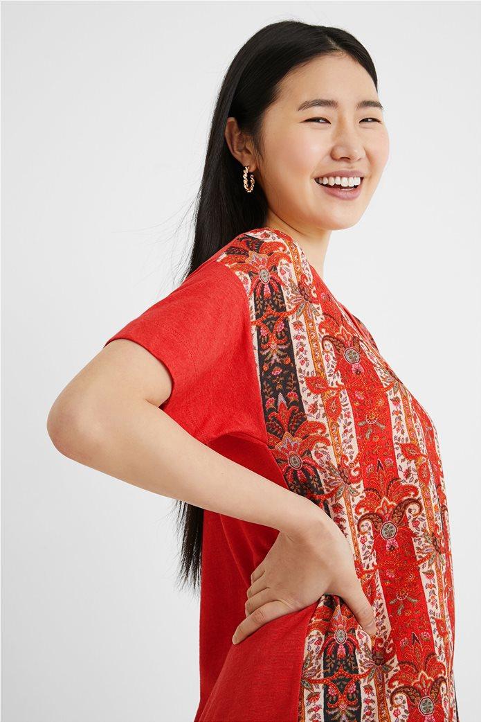 "Desigual γυναικεία μπλούζα με boho print ""Lombok"" Κόκκινο 2"