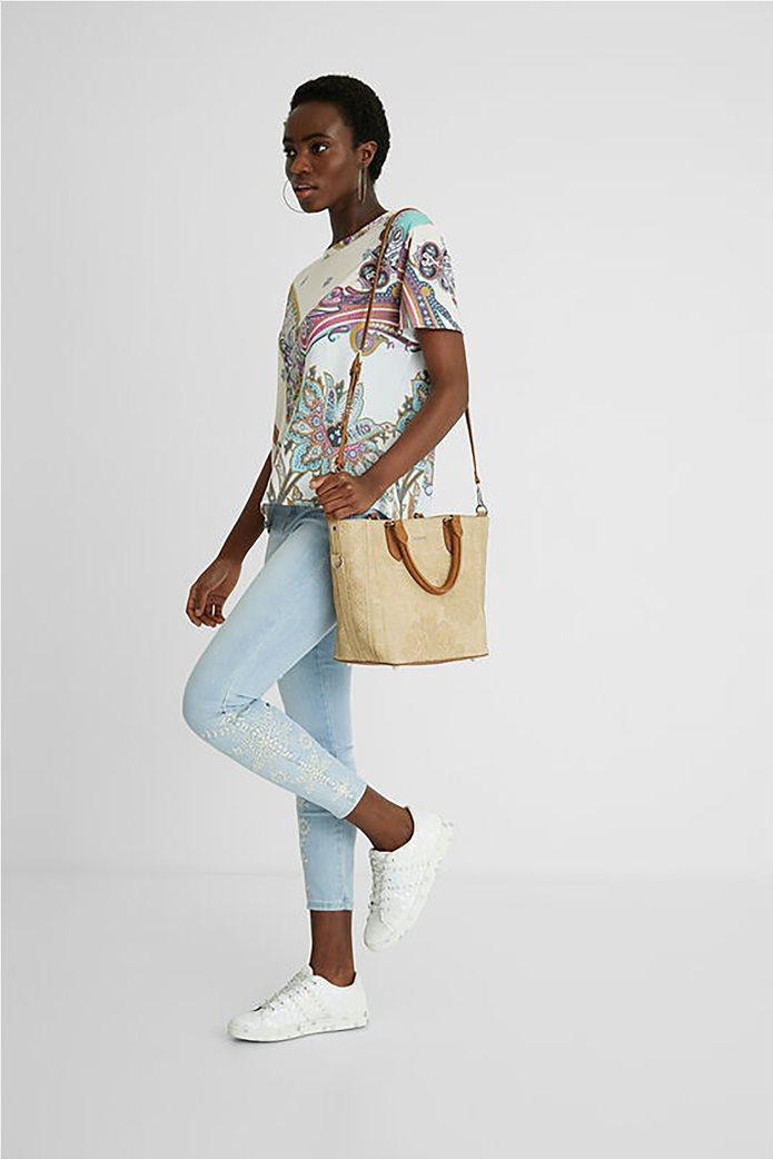 Desigual  γυναικείο T-Shirt με all-over paisley print ''Popasley'' Άσπρο 4