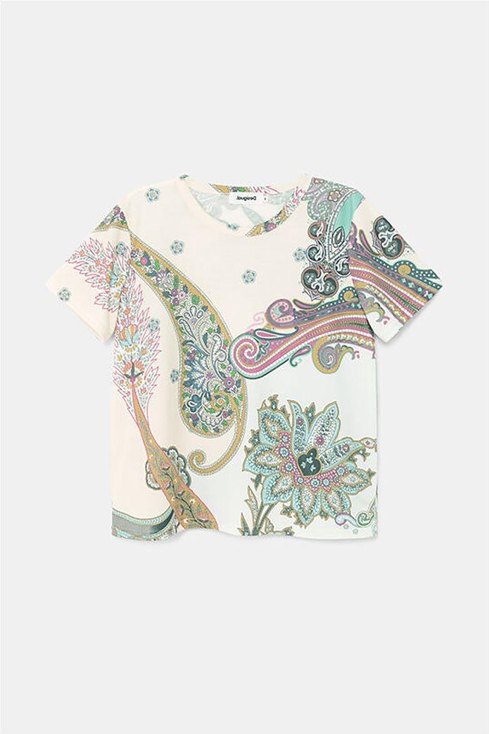 Desigual  γυναικείο T-Shirt με all-over paisley print ''Popasley'' Άσπρο 5
