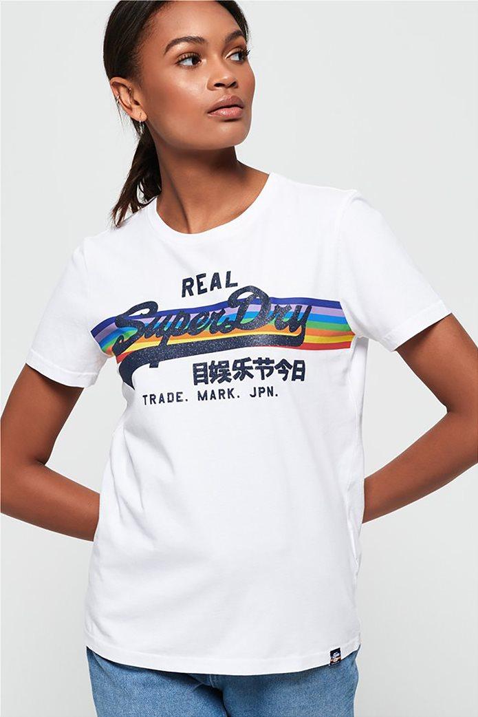 Superdry γυναικείο T-shirt με τύπωμα ουράνιου τόξου 0