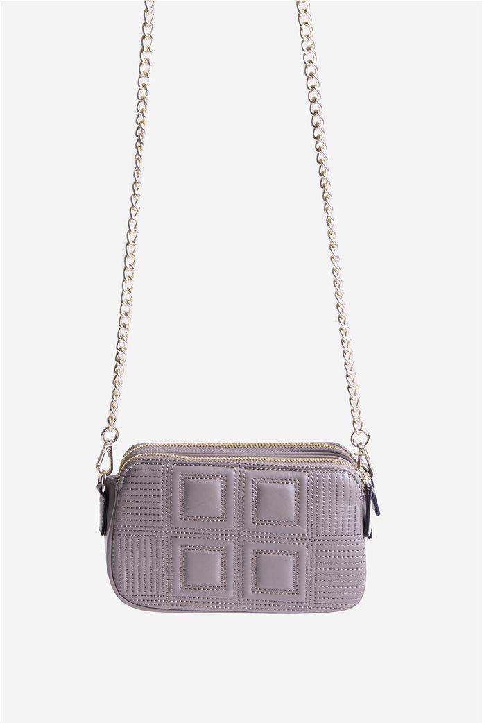 Roccobarocco γυναικεία τσάντα ώμου με ανάγλυφο σχέδιο και μεταλλικό logo Υπόλευκο 4