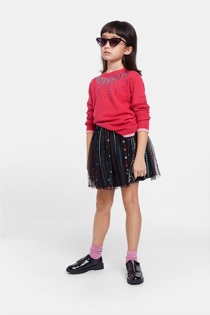 Desigual παιδική mini φούστα με κεντημένες λεπτομέρειες ''Fal Dover'' (9-12 ετών) Μαύρο 0