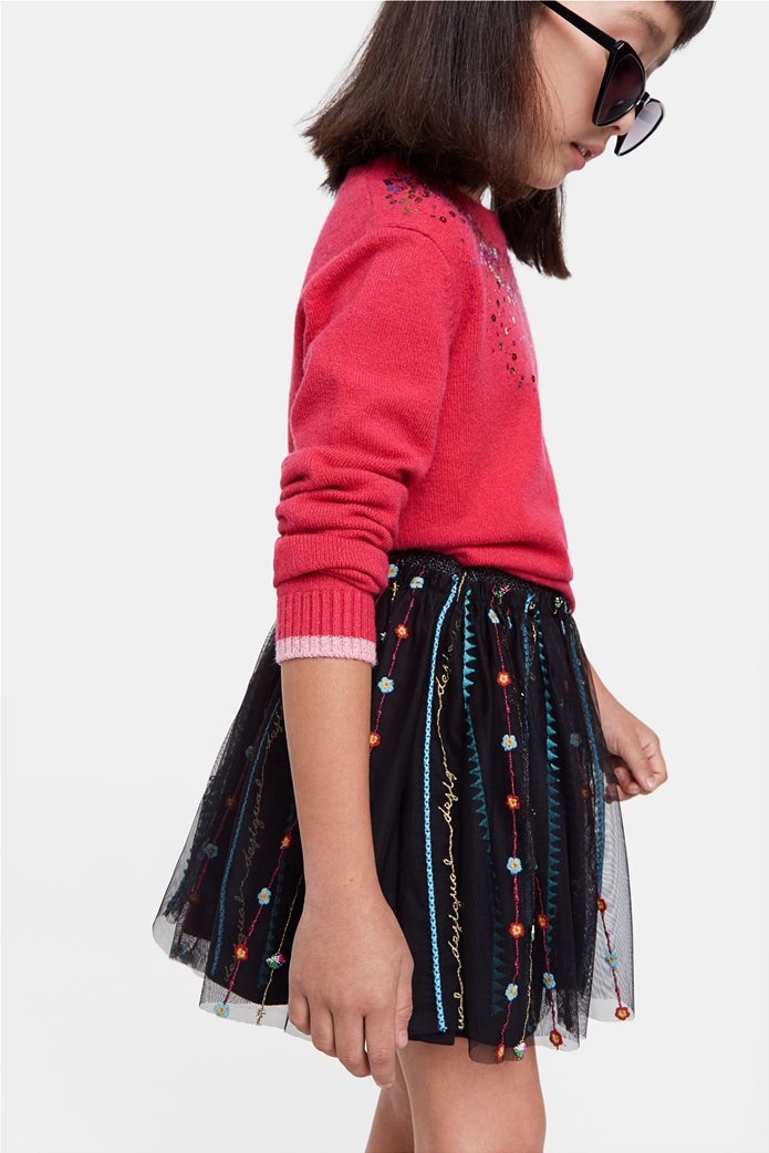 Desigual παιδική mini φούστα με κεντημένες λεπτομέρειες ''Fal Dover'' (9-12 ετών) Μαύρο 1
