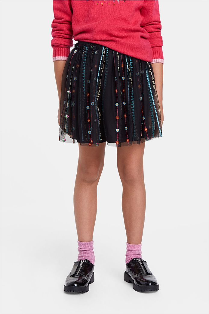 Desigual παιδική mini φούστα με κεντημένες λεπτομέρειες ''Fal Dover'' (9-12 ετών) Μαύρο 2