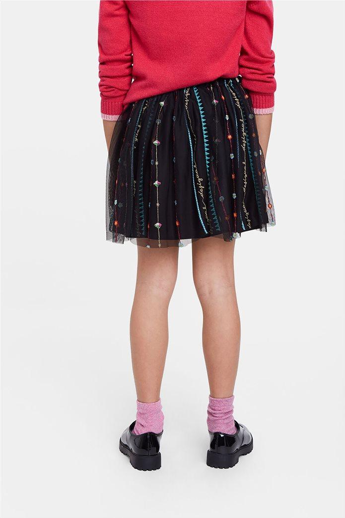 Desigual παιδική mini φούστα με κεντημένες λεπτομέρειες ''Fal Dover'' (9-12 ετών) Μαύρο 3