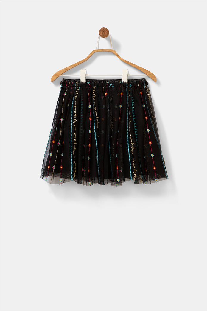 Desigual παιδική mini φούστα με κεντημένες λεπτομέρειες ''Fal Dover'' (9-12 ετών) Μαύρο 4