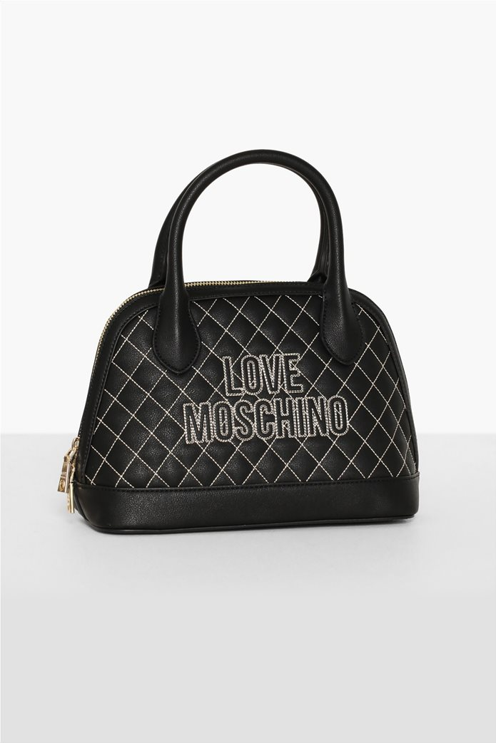 Love Moschino γυναικεία τσάντα χειρός καποτινέ με κεντημένο logo 0