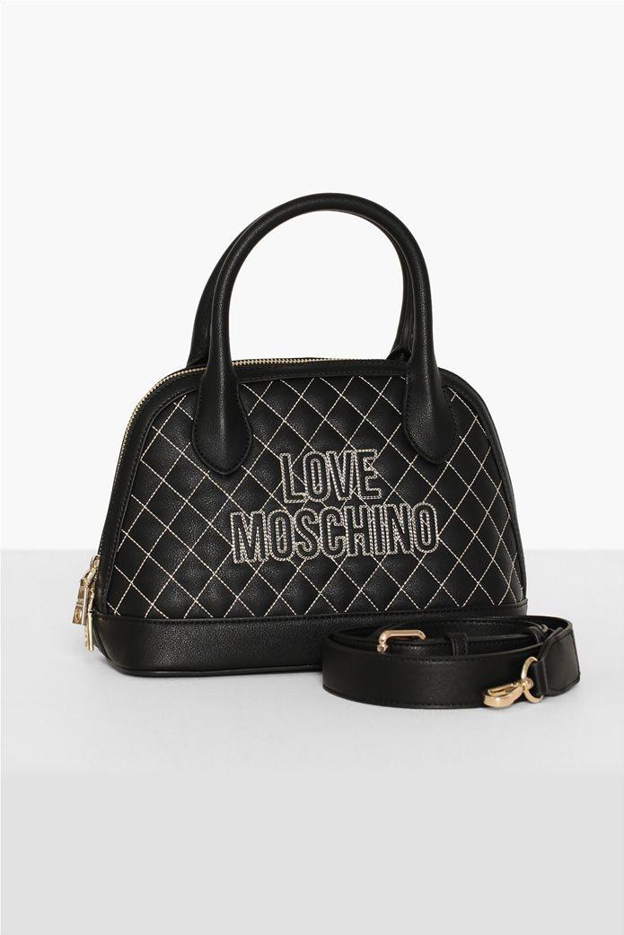Love Moschino γυναικεία τσάντα χειρός καποτινέ με κεντημένο logo 2