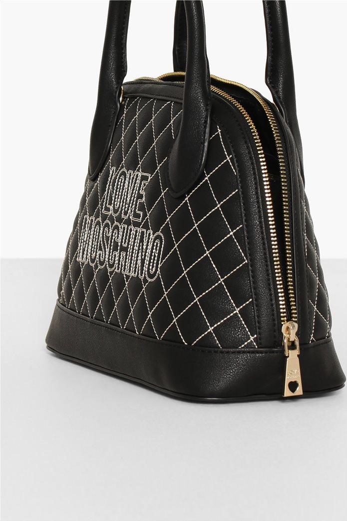 Love Moschino γυναικεία τσάντα χειρός καποτινέ με κεντημένο logo 3