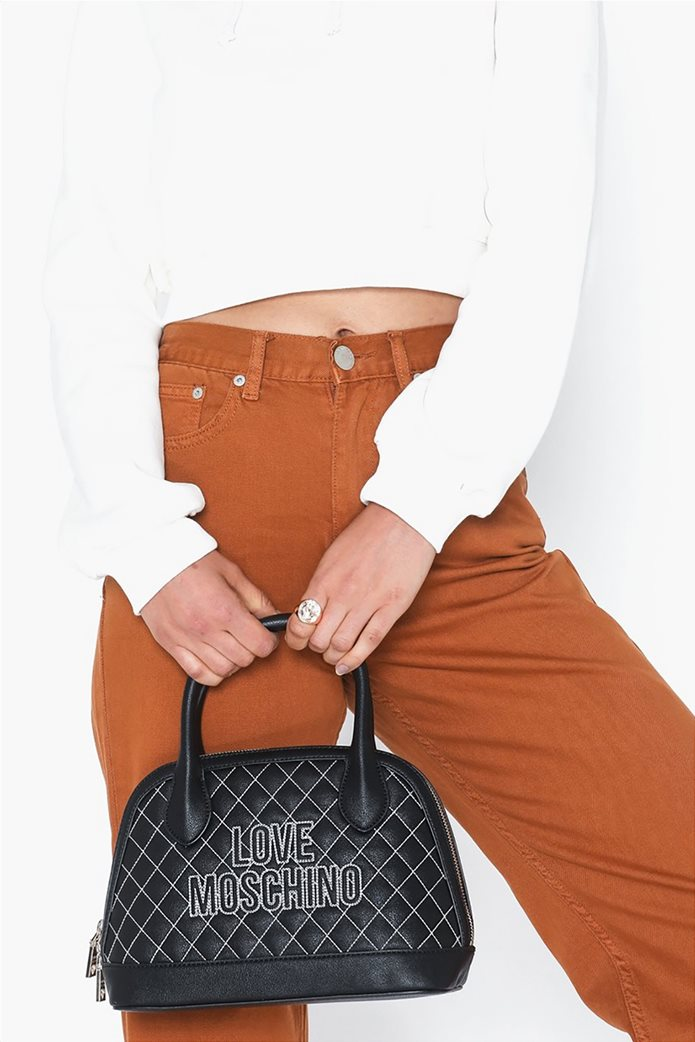 Love Moschino γυναικεία τσάντα χειρός καποτινέ με κεντημένο logo 4