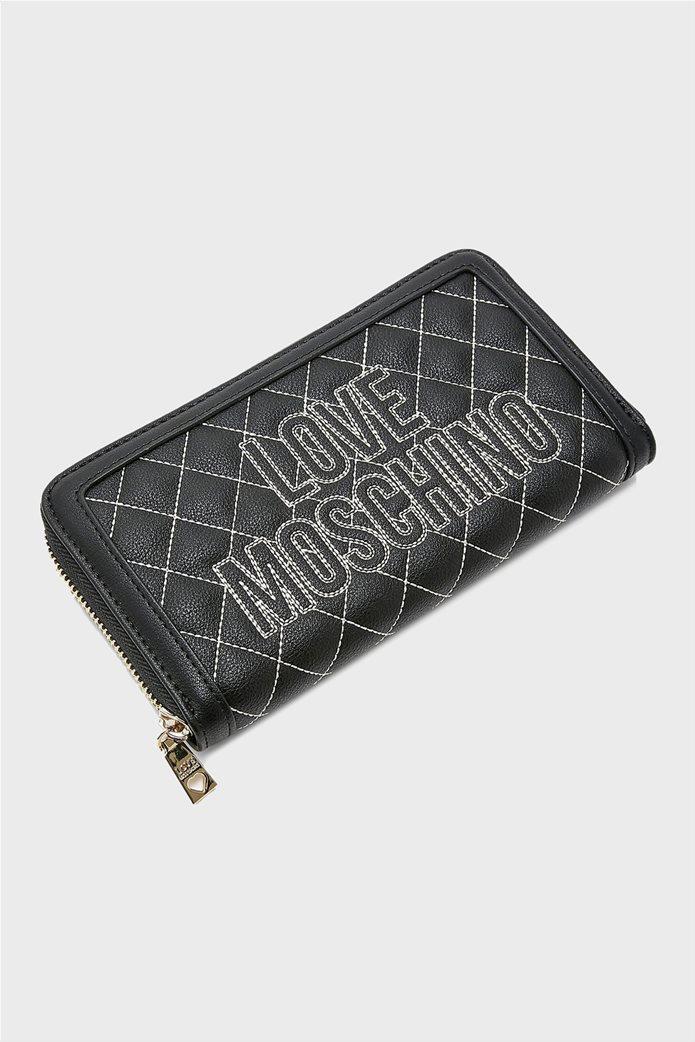 Love Moschino γυναικείo πορτοφόλι καπιτονέ με κεντημένο logo 2