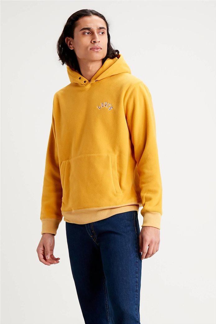 "Levi's® ανδρική μπλούζα fleece με κουκούλα και κεντημένο logo ""Polar Fleece"" Κίτρινο 0"