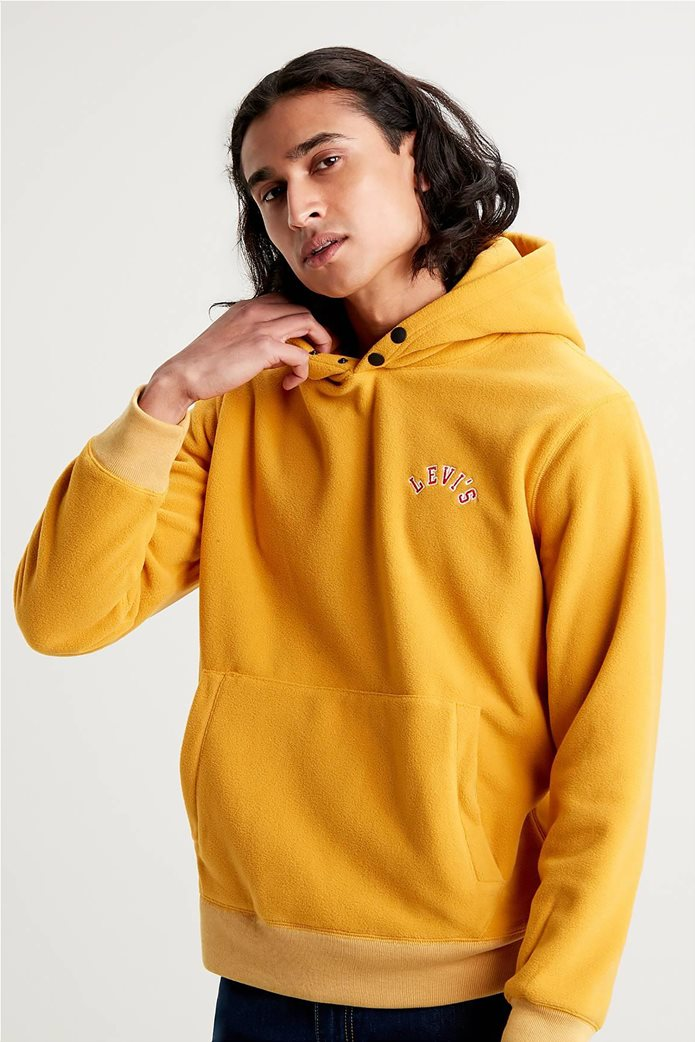 "Levi's® ανδρική μπλούζα fleece με κουκούλα και κεντημένο logo ""Polar Fleece"" Κίτρινο 2"