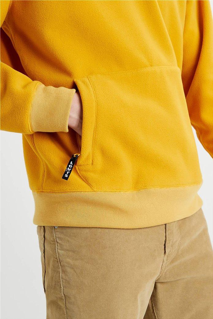 "Levi's® ανδρική μπλούζα fleece με κουκούλα και κεντημένο logo ""Polar Fleece"" Κίτρινο 3"