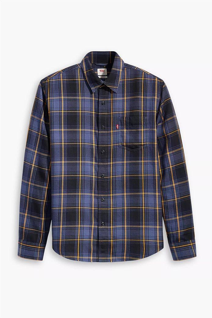 "Levi's® ανδρικό πουκάμισο με καρό σχέδιο και μία τσέπη ""Sunset"" Μπλε Σκούρο 2"