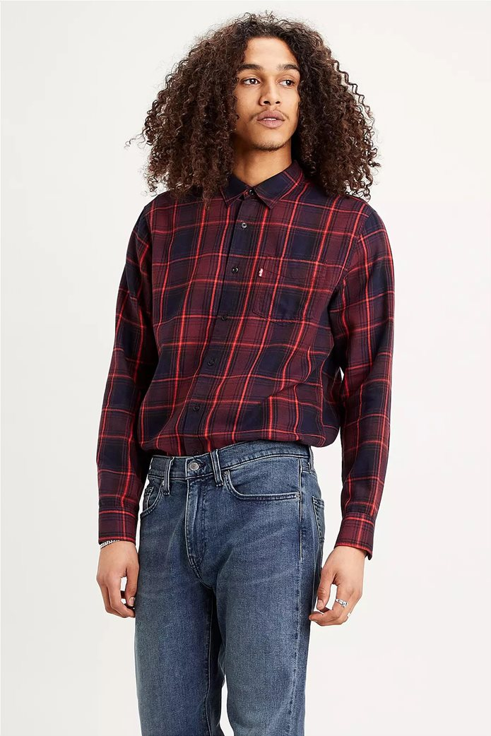 "Levi's® ανδρικό πουκάμισο με καρό σχέδιο και μία τσέπη ""Sunset"" Μπορντό 0"