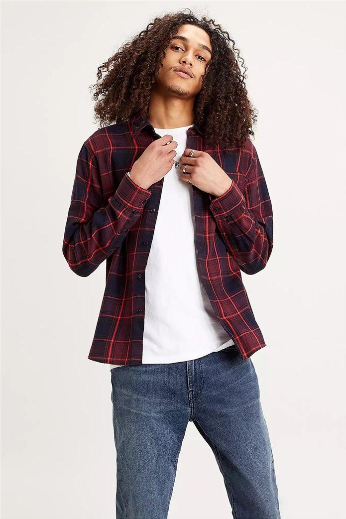 "Levi's® ανδρικό πουκάμισο με καρό σχέδιο και μία τσέπη ""Sunset"" Μπορντό 1"