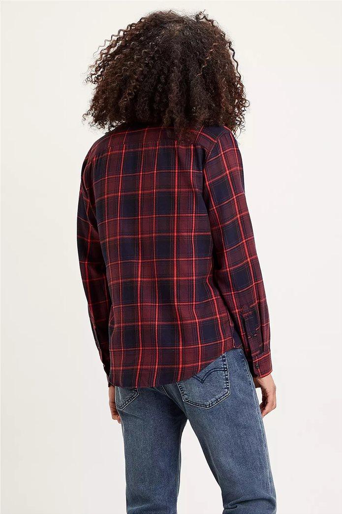 "Levi's® ανδρικό πουκάμισο με καρό σχέδιο και μία τσέπη ""Sunset"" Μπορντό 2"